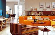 هماهنگی رنگ نارنجی با رنگ های روشن در طراحی داخلی