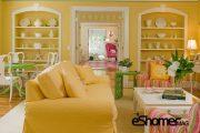 روشن کردن اتاق نشیمن با رنگ زرد طراحی داخلی