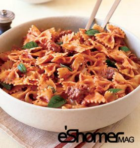 تهیه و پخت انواع غذاهای ایتالیایی پاستا پروانه ای فارافاله با گوجه فرنگی و ریحان