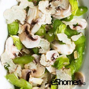 تهیه و پخت انواع غذاهای ایتالیایی – سالاد قارچ با ماهی کولی