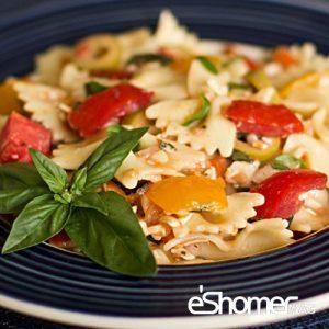 تهیه و پخت انواع غذاهای ایتالیایی _ پاستا پروانه ای با گوجه فرنگی و ریحان