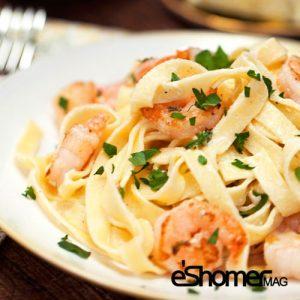 تهیه و پخت انواع غذاهای ایتالیایی _ پاستای میگو با سیر و کره